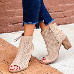 TOMS Majorca Perforated Suede Peep Toe Booties 6.5
